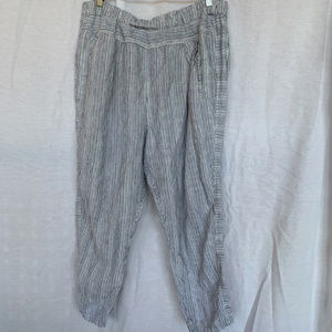 Anthropologie Striped Linen Pants